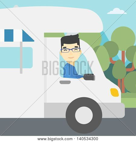 An asian man driving a motor home in the forest. Man travelling by camper van. Vector flat design illustration. Square layout.