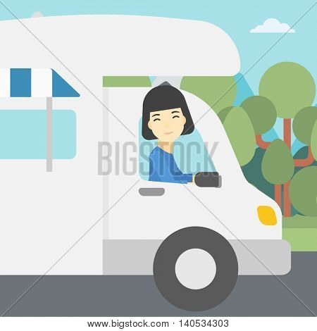 An asian woman driving a motor home in the forest. Woman travelling by camper van. Vector flat design illustration. Square layout.