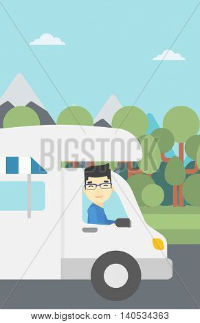 An asian man driving a motor home in the forest. Man travelling by camper van. Vector flat design illustration. Vertical layout.