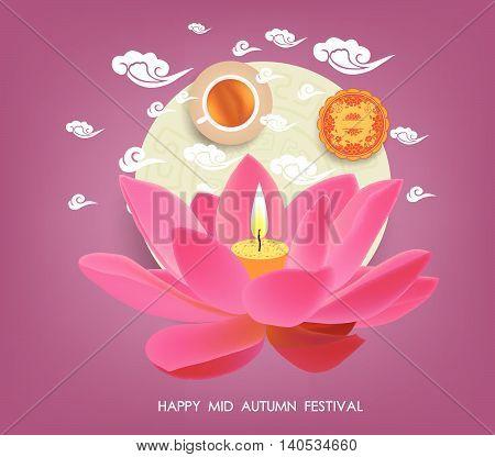 Mid Autumn lotus Lantern Festival  background with moon cake, tea