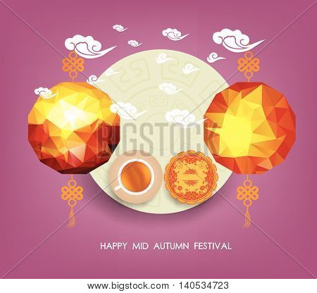 Lanterns of Mid Autumn Festival. Translation, Happy Chuseok . Mid Autumn Festival
