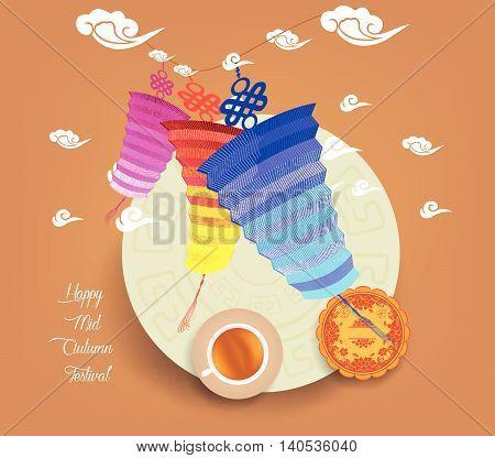 Chinese lantern festival. Mid autumn full moon, cake and tea.