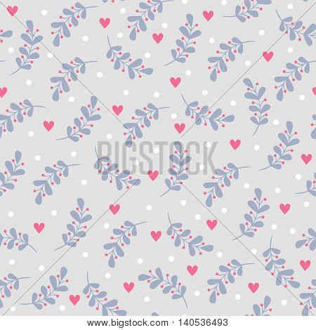 Vector illustration with leaves and hearts. Seamless pattern with leaves and hearts.