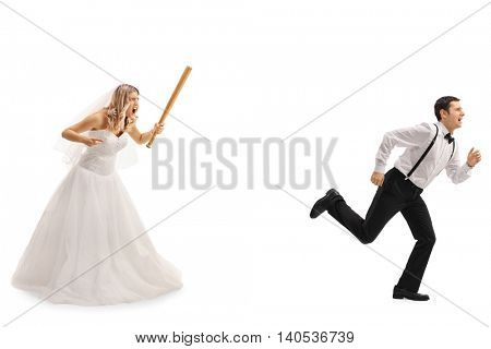 Angry bride chasing the groom with a baseball bat isolated on white background