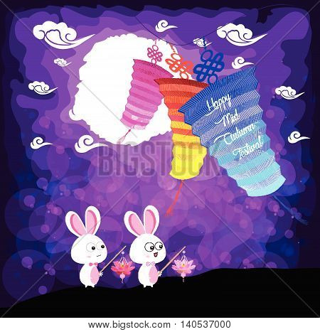 Mid Autumn Festival background with rabbit playing lanterns