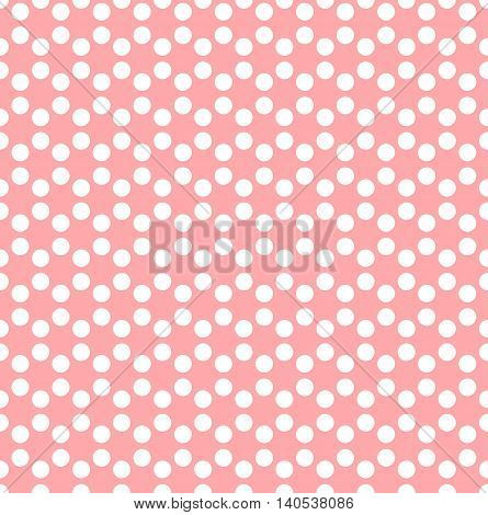 Seamless background of white dots in hexagonal arrangement on pink background. Simple flat vector illustration.