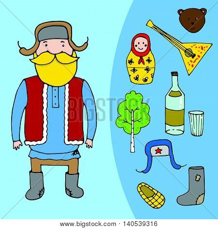 Mexican Bearded Man In Sombrero And Set Of Mexican Elements