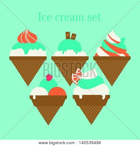 Set Of Different Kinds Of Ice Cream