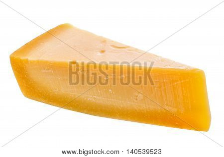 Single Tasty Fresh Yellow Big Segment Piece Of Parm Cheese Is Isolated On White Background, Close Up