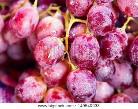 Fresh red wine grapes or dark grapes at market for background (selective focus)