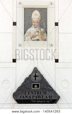 CRACOW POLAND - JULY 22 2016: The centre of Pope John Paul II. Cracow LagiewnikI Poland