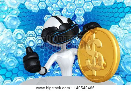 Virtual Reality VR Coins 3D Illustration