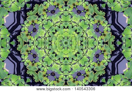 Abstract kaleidoscope background with pattern in green colors