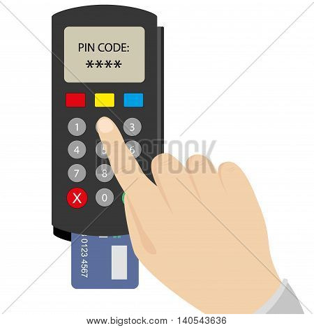 Hand enters the PIN code on the POS terminal vector illustration