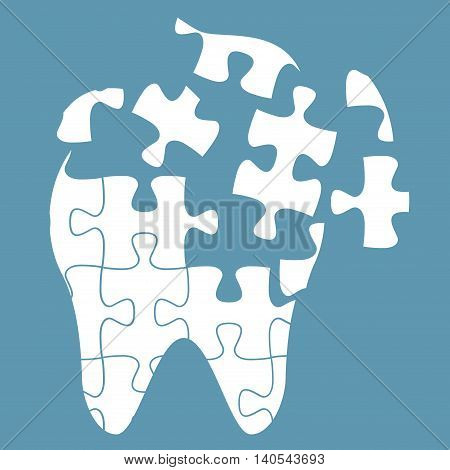 tooth of the puzzle, dental caries, vector illustration