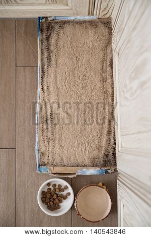 Place with mat near boal with feed and drinking for cat living