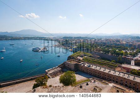 Kerkyra city from the Old Fortress. Corfu island Greece.