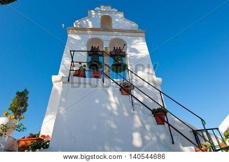 The bell tower of the Vlacheraina monastery on the island of Corfu Greece.