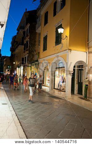 CORFU-AUGUST 25: Kerkyra town at night on August 25 2014 on Corfu island Greece. Kerkyra is a town on the island of Corfu in the Ionian Sea Greece.