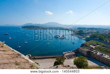 Panorama of Kerkyra as seen from the Old Fortress. Corfu island Greece.