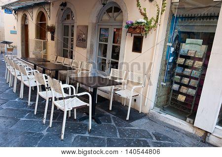CORFU-AUGUST 22: Traditional Greek restaurant on Corfu island on August 22 2014 in Kerkyra Greece.