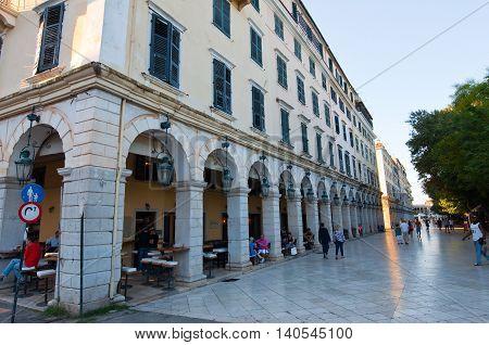 CORFU-AUGUST 27: The Liston of Corfu in Kerkyra with the row of local restaurants on August 27 2014 on Corfu island Greece.