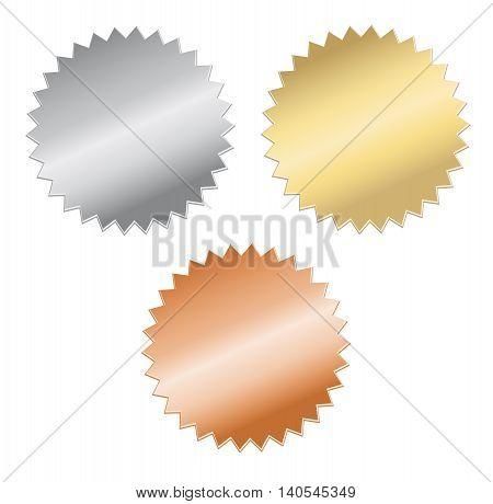 blank gold, silver and bronze medals, isolated on White