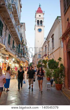 CORFU-AUGUST 24: The Saint Spyridon Church bell tower on August 242014 on Corfu island Greece. The Saint Spyridon Church is a Greek Orthodox church located in Corfu Greece.