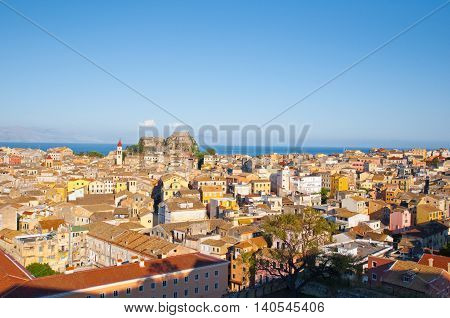CORFU-AUGUST 22: Aerial view of Corfu city as seen from the New Fortress on August 22 2014 on Corfu island Greece.