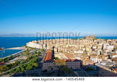 CORFU-AUGUST 22: Panoramic view of Corfu city as seen from the New Fortress on August 22 2014 on Corfu island Greece.