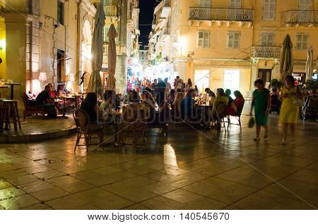 CORFU-AUGUST 25: Nightlife in Kerkyra town crowd of tourists around on August 25 2014 on the Corfu island Greece.