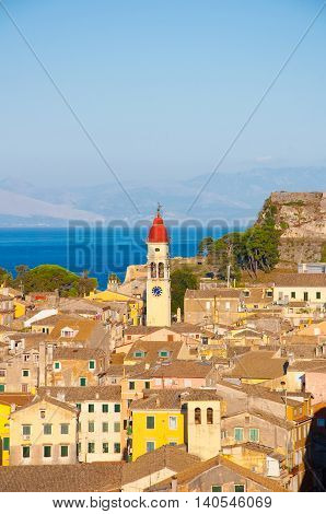 CORFU-AUGUST 22: Panoramic view the city of Corfu and the bell tower of the Saint Spyridon Church from the New Fortress on August 22 2014 on Corfu island Greece.
