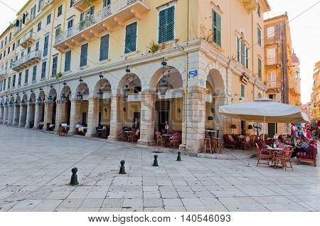 CORFU-AUGUST 22: Kerkyra city with the row of local restaurants on August 22 2014 on Corfu island Greece.