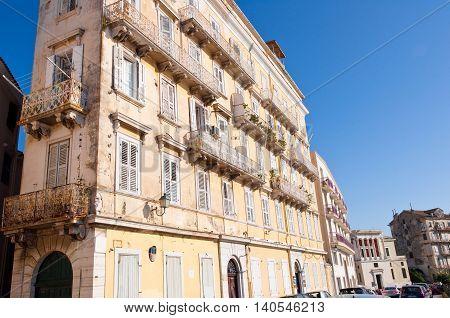 CORFU-AUGUST 22: Venetian building in Corfu town on August 22 2014 on Corfu island. Greece.