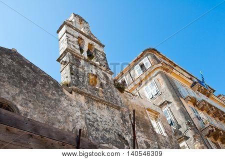Ruins of the Venetian church in Kerkyra city on the island of Corfu Greece.