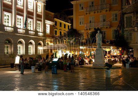 CORFU-AUGUST 25: Kerkyra nightlife lots of people in a restaurant on August 25 2014 in Kerkyra town on the Corfu island Greece.