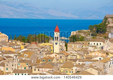CORFU-AUGUST 22: Corfu city and the bell tower of the Saint Spyridon Church from the New Fortress on August 22 2014 on Corfu island Greece.