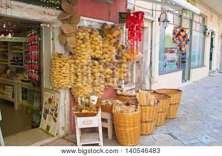 CORFU-AUGUST 22: Traditional Greek goods displayed for sale on Corfu island on August 22 2014 in Kerkyra Greece.