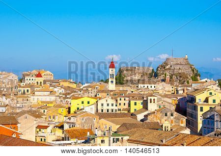 CORFU-AUGUST 22: View of Corfu old town with Saint Spyridon Church and the Old Fortress from the New Fortress on August 22 2014 on Corfu island Greece.