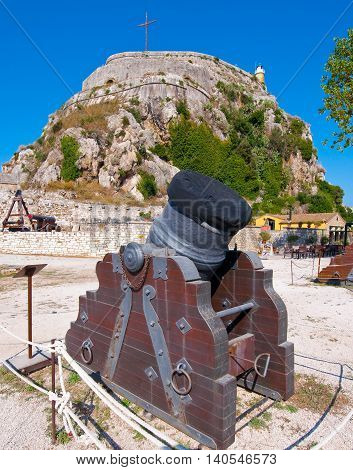 Antique Canon in the Old Fortress. Kerkyra Corfu in Greece.