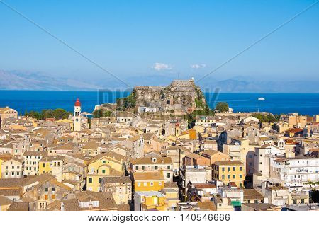 CORFU-AUGUST 22: Panoramic view of Corfu old town with the Old Fortress and the Saint Spyridon Church in the distance from the New Fortress on August 22 2014 on Corfu island Greece.