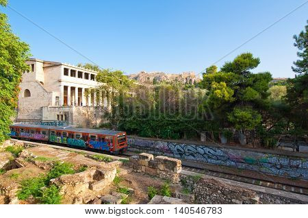 ATHENS-AUGUST 22: Acropolis of Athens and Athenian subway on August 22 2014 in Athens Greece.