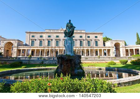 Statue of Sir Frederick Adam in front of the Palace of St. Michael and St. George on the island of Corfu Greece.
