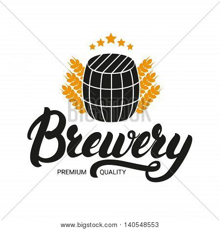 Brewery lettering logo, label, badge with sign of barrel and ears of wheat. Logo design template for beer house, bar, pub, brewing company, brewery. Vector illustration.