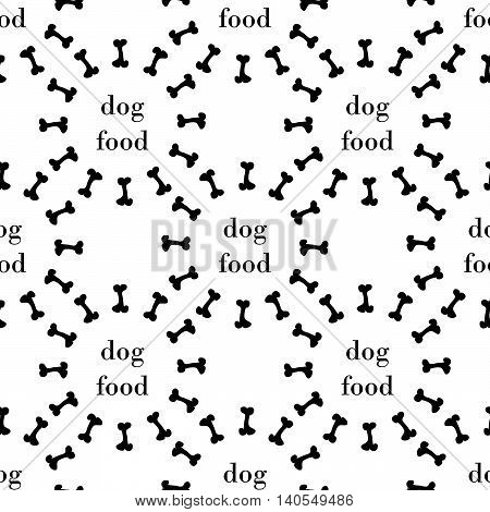white seamless pattern with black bone for dog. vector