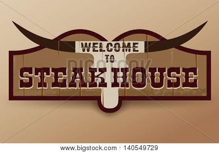 Wild West sign. Retro wooden sign. Steakhouse sign