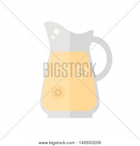 Juice jug icon. Banana juice jug isolated icon on white background. Healthy drink. Flat style illustration.