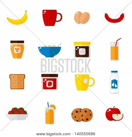 Breakfast icons isolated on white background. Breakfast food set. Coffee, toast, corn flakes, juice, apple, banana, jam, honey, tea, milk, cookies, eggs, sausage. Flat style vector illustration.