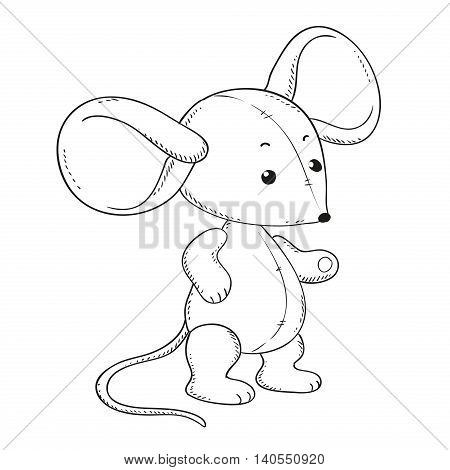 Plush mouse for coloring book. Vector isolated. Contour illustration