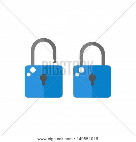 Lock icon isolated on white background. Open and closed lock. Security protection objects. Flat style vector illustration.